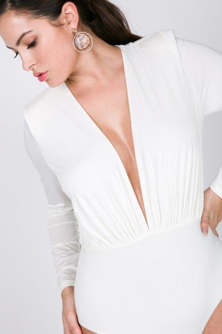 Power Shoulder Deep V Long Sleeve Bodysuit - LordVincent's