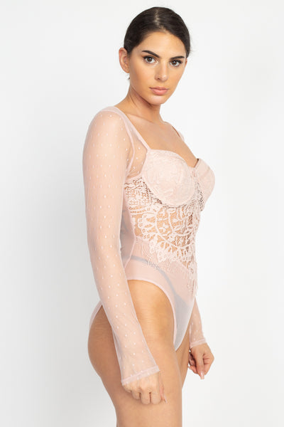 Sheer Mesh Polka Dot & Lace Bodysuit - LordVincent's