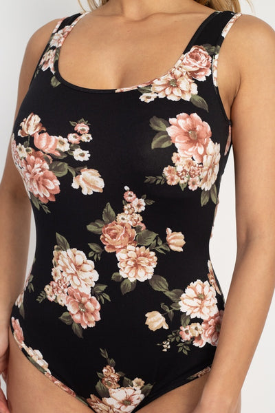 Flower Print Sleeveless Bodysuit - LordVincent's