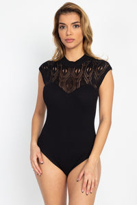 Pointelle Knit Mock Neck Bodysuit - LordVincent's
