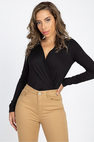 Front Wrap V Neck Bodysuit - LordVincent's