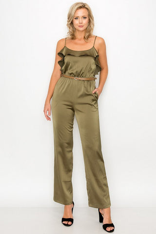 Ruffle Trim Belted Jumpsuit - LordVincent's