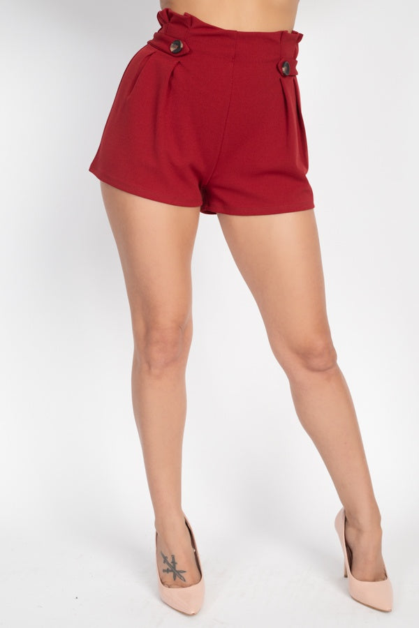 Button Tab High Rise Paperbag Shorts - LordVincent's