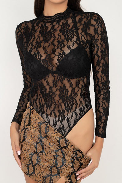 Sheer Floral Lace Bodysuit - LordVincent's