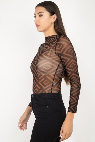 Long Sleeve Geometric Bodysuit - LordVincent's
