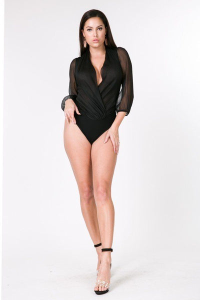 Puff Sleeve Sheer Surplice Bodysuit - LordVincent's