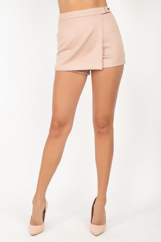 Side Tab Snap Suede Skort - LordVincent's