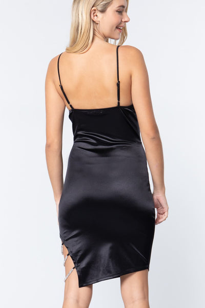 Jewel Strap Satin Cami Mini Dress - LordVincent's