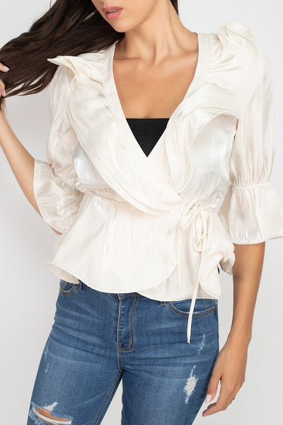 Surplice Short Sleeve Ruffle Top - LordVincent's