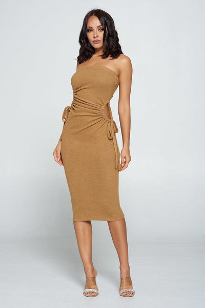 Strapless Solid Color Bodycon Dress - LordVincent's