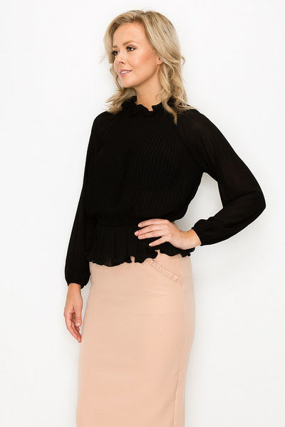 Ruffle Pleats Peplum Top - LordVincent's