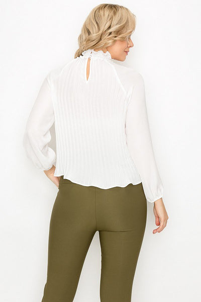 Smocked Trim Pleated Top - LordVincent's
