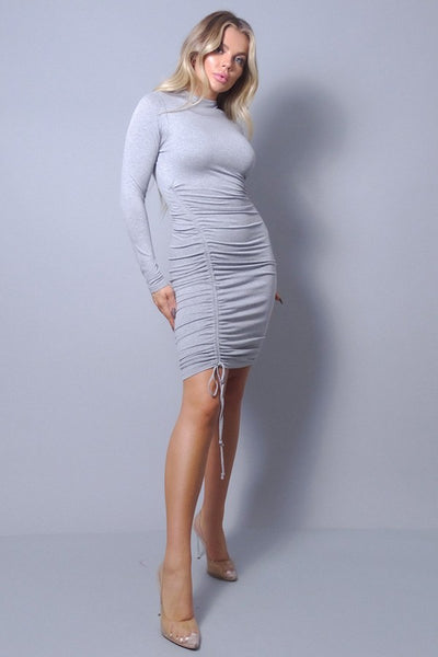 Sexy Long Sleeve Mock Neck Side Or Twist Ruching Dress - LordVincent's