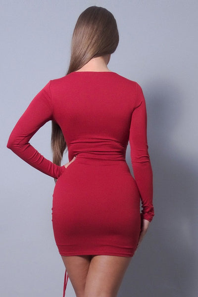 Sexy & Chic Long Sleeve Square Neck Ruching Tie Basic Dress - LordVincent's