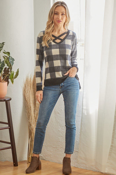 Plaid V Neck Long-sleeved Top - LordVincent's