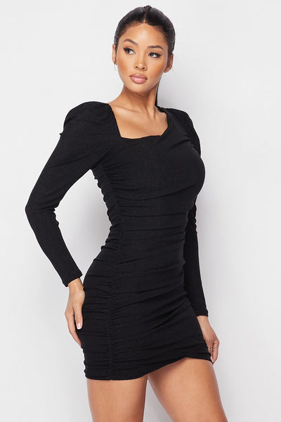 Asymmetrical Neckline Puff Sleeve Mini Dress - LordVincent's
