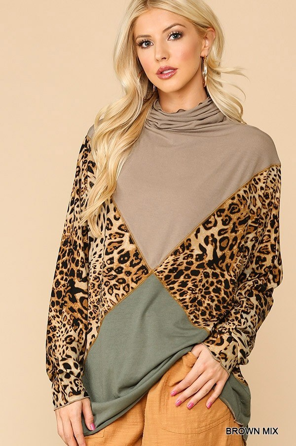 Solid And Animal Print Mixed Knit Turtleneck Top With Long Sleeves - LordVincent's