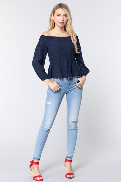 Off Shoulder Smocked Woven Top - LordVincent's