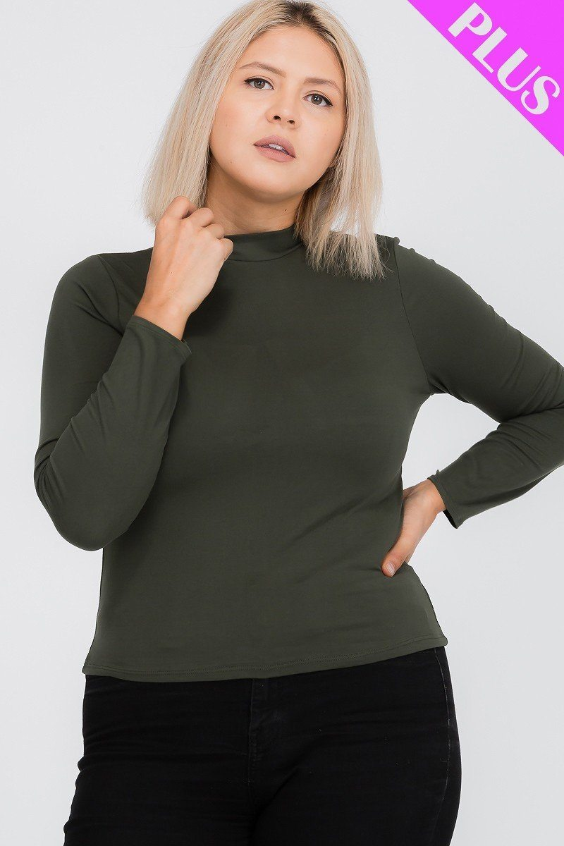 Plus Size Mock Neck Solid Top - LordVincent's
