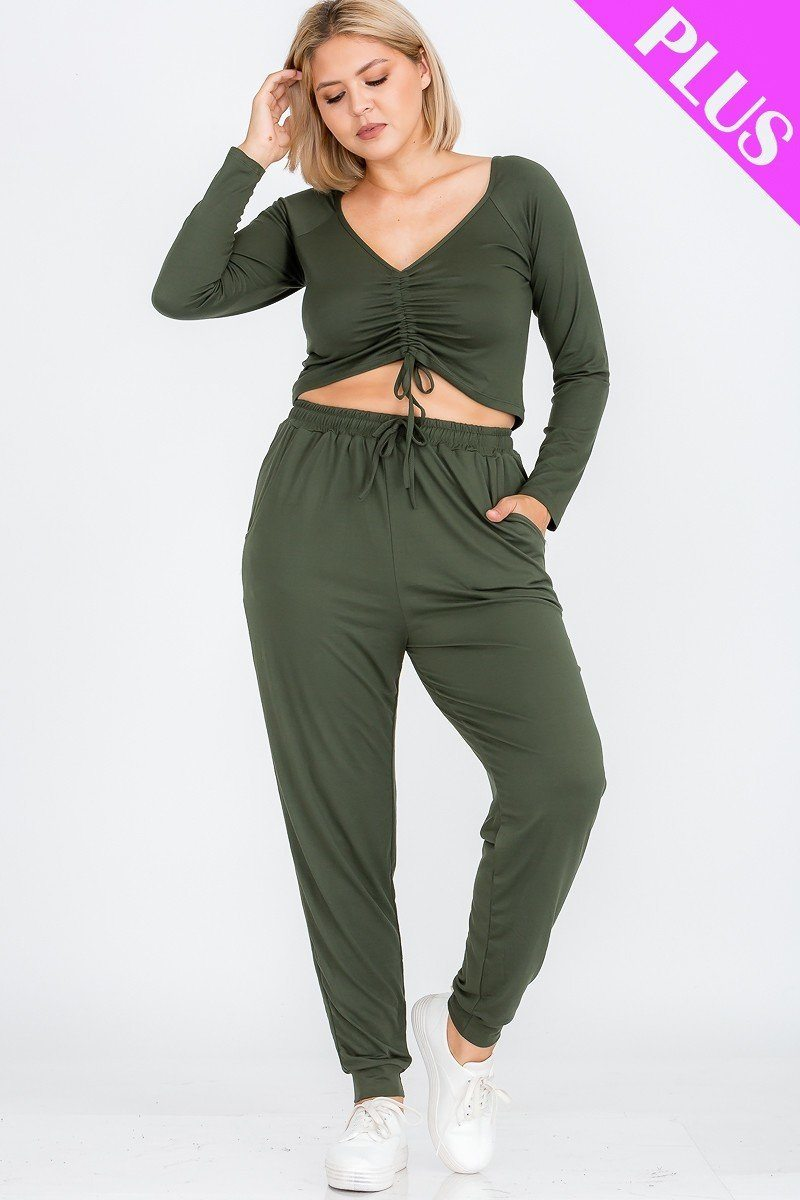 Plus Size Strap Ruched Top And Jogger Pants Set - LordVincent's