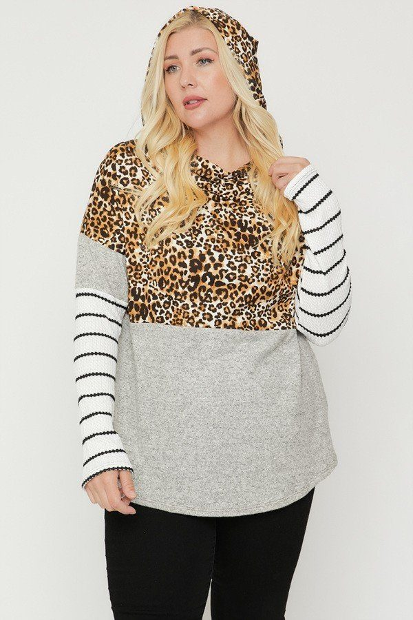 Plus Size Color Block Hoodie Featuring A Cheetah Print - LordVincent's