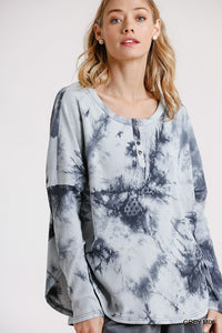 Tie Dye Round Neck Ribbed Button Front Top With Round Hem - LordVincent's