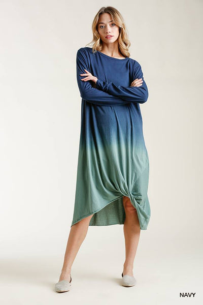 Ombre Front Knot Detail Long Sleeve Maxi Dress With Raw Hem - LordVincent's