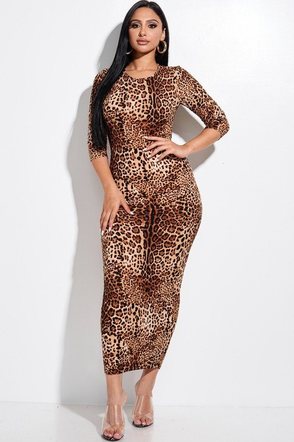 Animal Print 3/4 Sleeve Midi Dress With Back Cut Out - LordVincent's