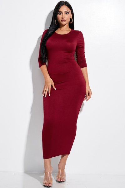 Solid 3/4 Sleeve Midi Dress With Back Cut Out - LordVincent's