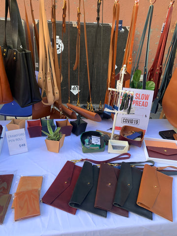 Leather handbags for sale displayed on a table