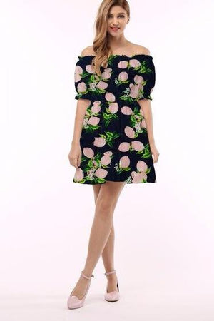Strapless Pattern Dress - cuteprettytrendy