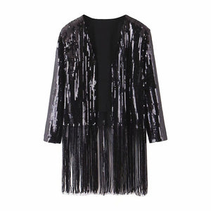 SEQUIN FRINGE JACKET - SHOPVIIXEN