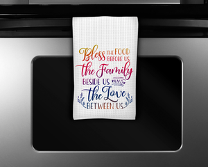 """Bless the Food Before Us"" Tea Towel"