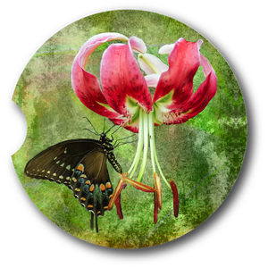 Butterfly Tiger Lily - Sandstone car coaster