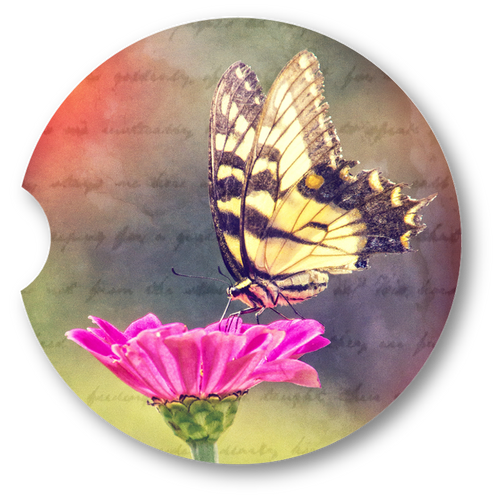 Butterfly and Flower- Sandstone car coaster