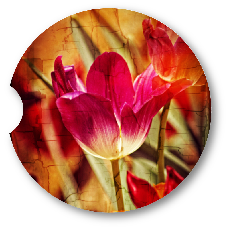 Tulip cracked paint- Sandstone car coaster