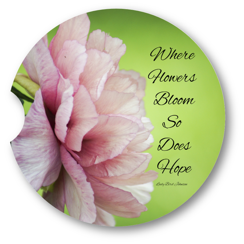 Where flowers bloom- Sandstone car coaster – Dragonfly Blessings 3380be397d3