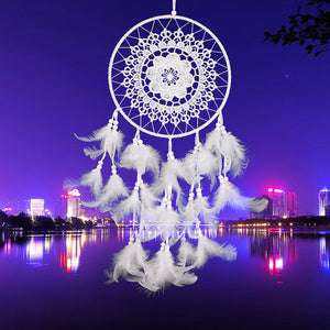 "24"" White Lace Flower Dream Catcher"
