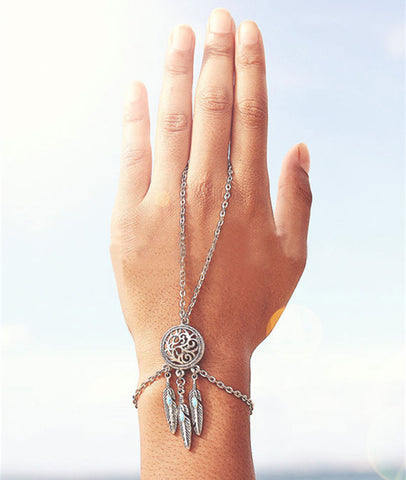 Chain Link Bangle Bracelet Dream Catcher Pendant