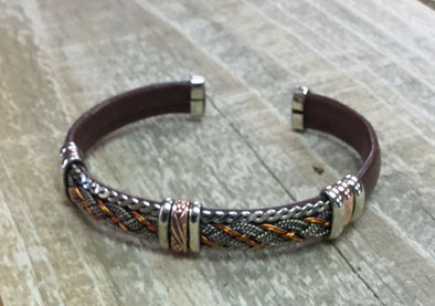 Brown Copper Silver Bracelet