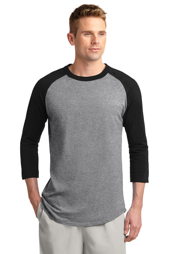 Blank Heather Grey and black baseball tee