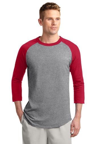 Blank red and heather grey baseball tee