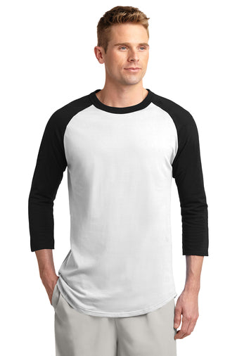 Blank black and white baseball tee