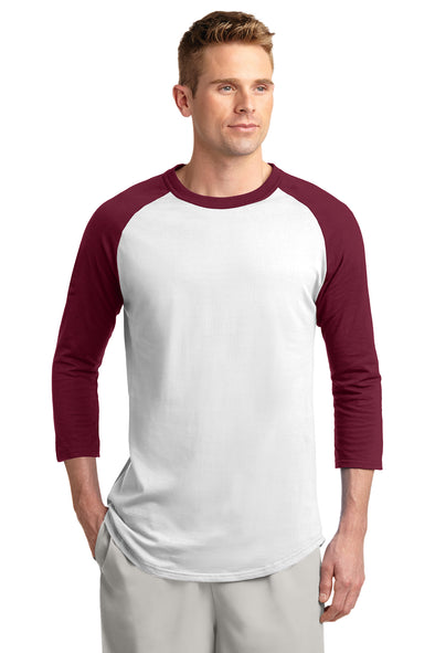 Blank maroon and white baseball tee