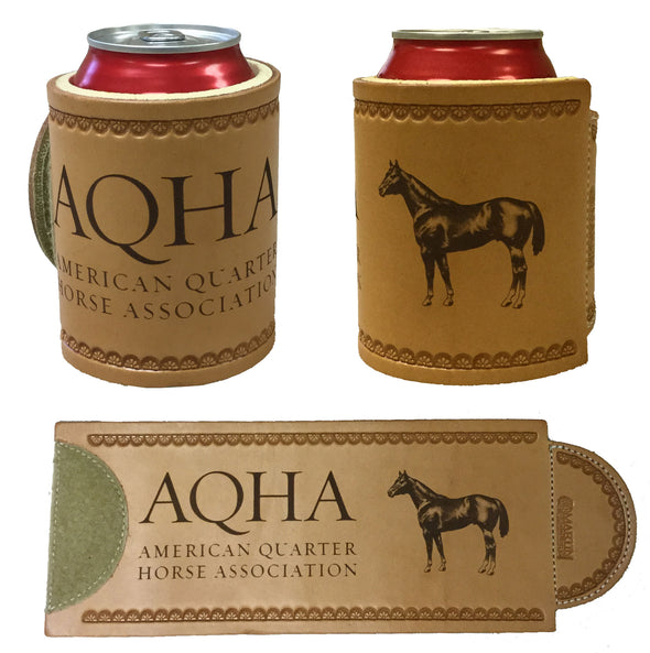 New Engraved AQHA Leather Koozie