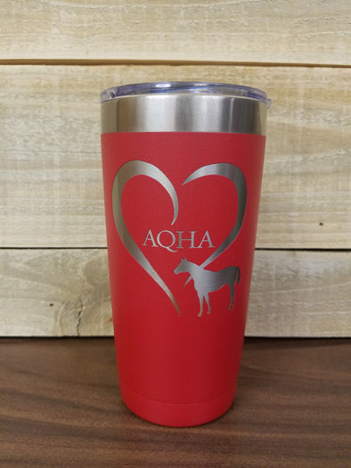 20 oz. Heart Horse Red Tumbler