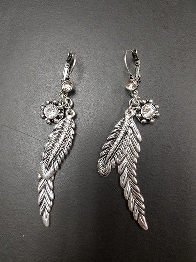 Dangle Double Feather Bling Earrings