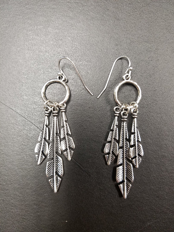Triple Feather Catcher Earrings