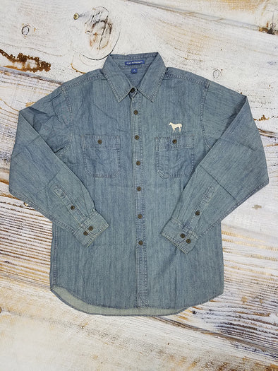 AQHA Standing Horse  Patch Pockets Denim Button Down