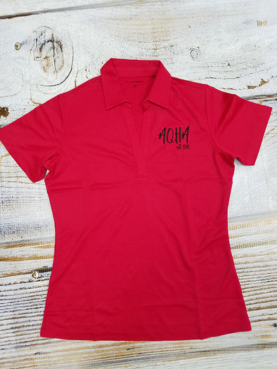 Stretched AQHA est 1940 Ladies RED polo